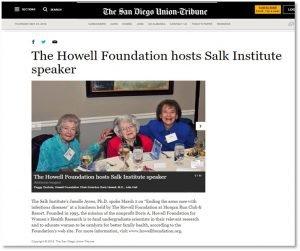 Howell Foundation Hosts Salk Institute Speaker