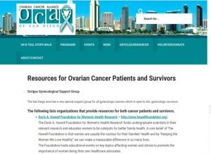 Howell Foundation named as a Resource at the Ovarian Cancer Alliance